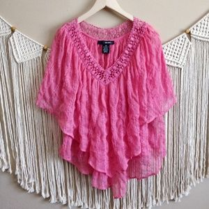 DENIM 24/7 Pink Lace Eyelet Embroidered Poncho 20W
